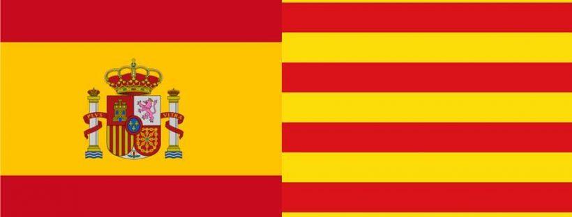 Flaggen Spaniens und Kataloniens