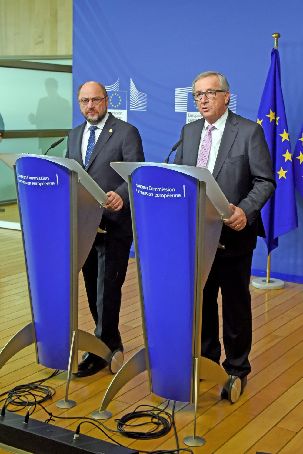 Martin Schulz, on the left, and Jean-Claude Juncker