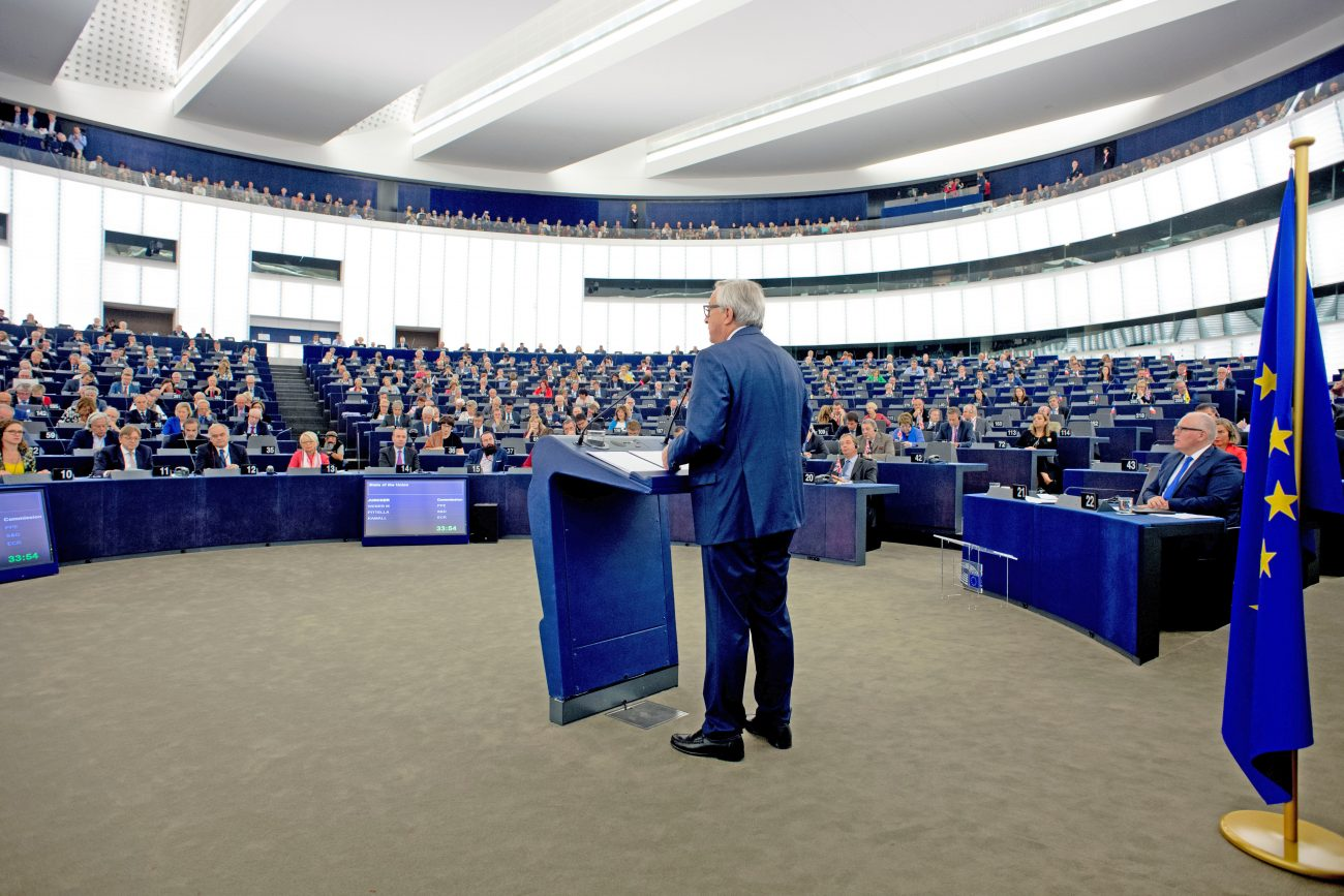 "General view of the European Parliament hemicycle in Strasbourg during the speech on the ""State of the Union Address 2017"" by Jean-Claude Juncker, at the podium"