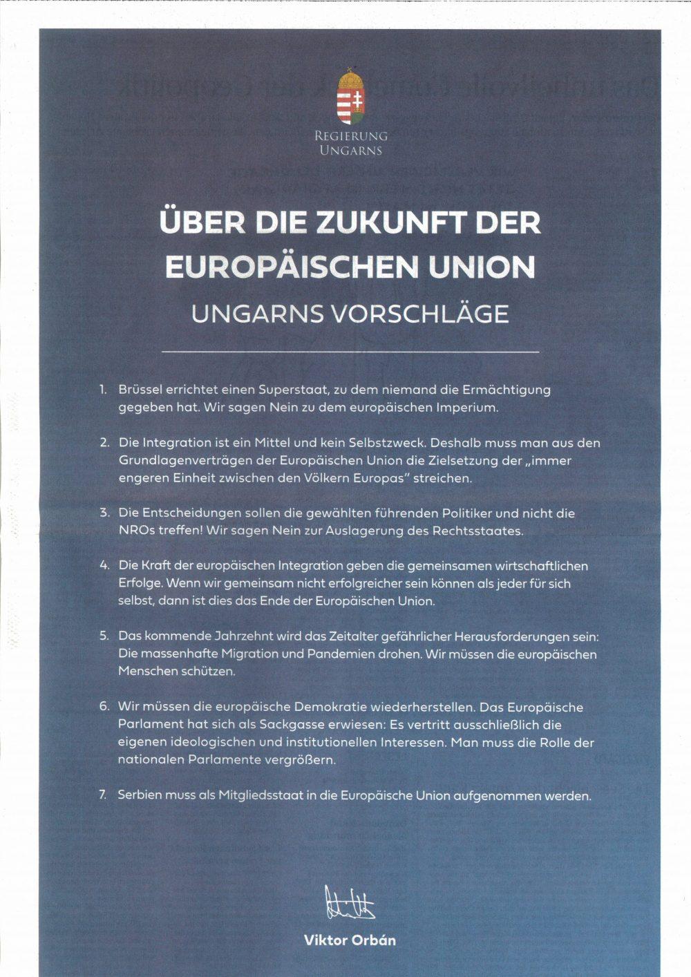 Der 7-Punkte-Plan von Viktor Orban